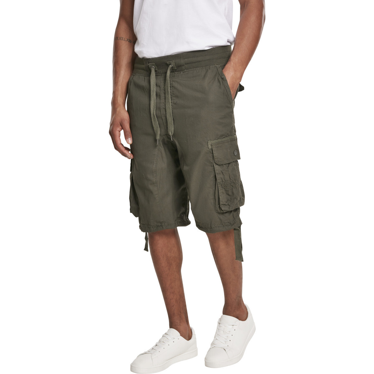Jogger Shorts W/Cargo Fine Twill - Olive