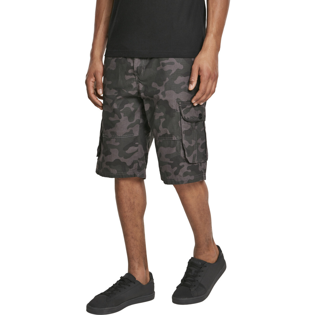 Belted Camo Cargo Shorts Ripstop - Grey Camo
