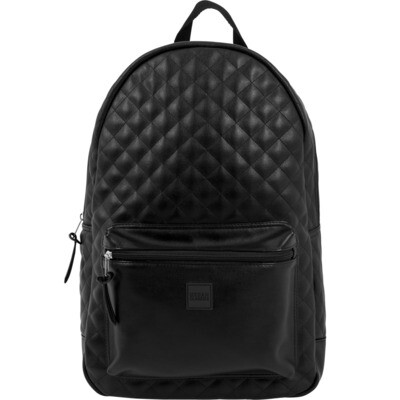 Diamond Quilt Leather Imitation Backpack - Schwarz