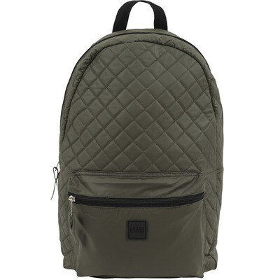 Diamond Quilt Leather Imitation Backpack - Olive