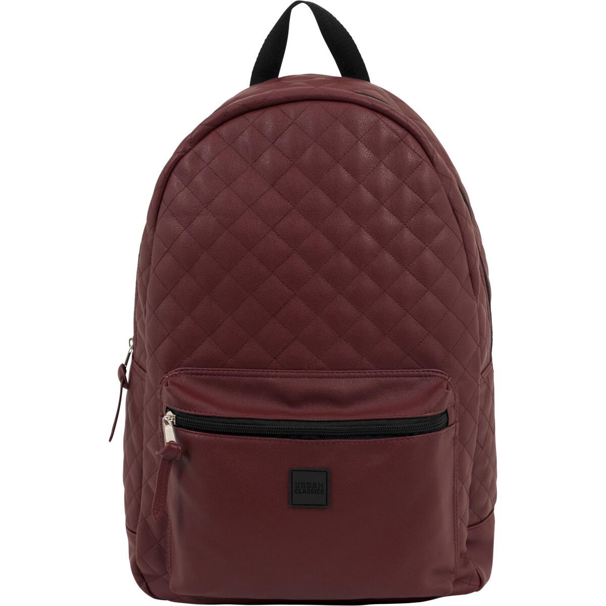 Diamond Quilt Leather Imitation Backpack - Burgundy