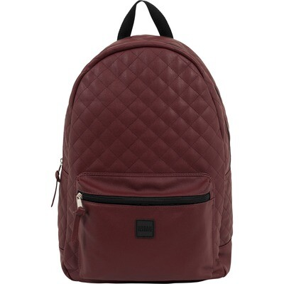 Diamond Quilt Leather Imitation Backpack - Burgundy