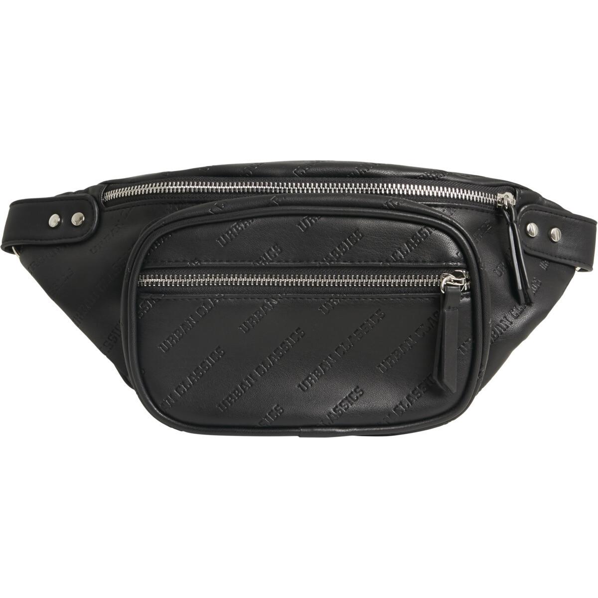 Imitation Leather Shoulder Bag - Schwarz
