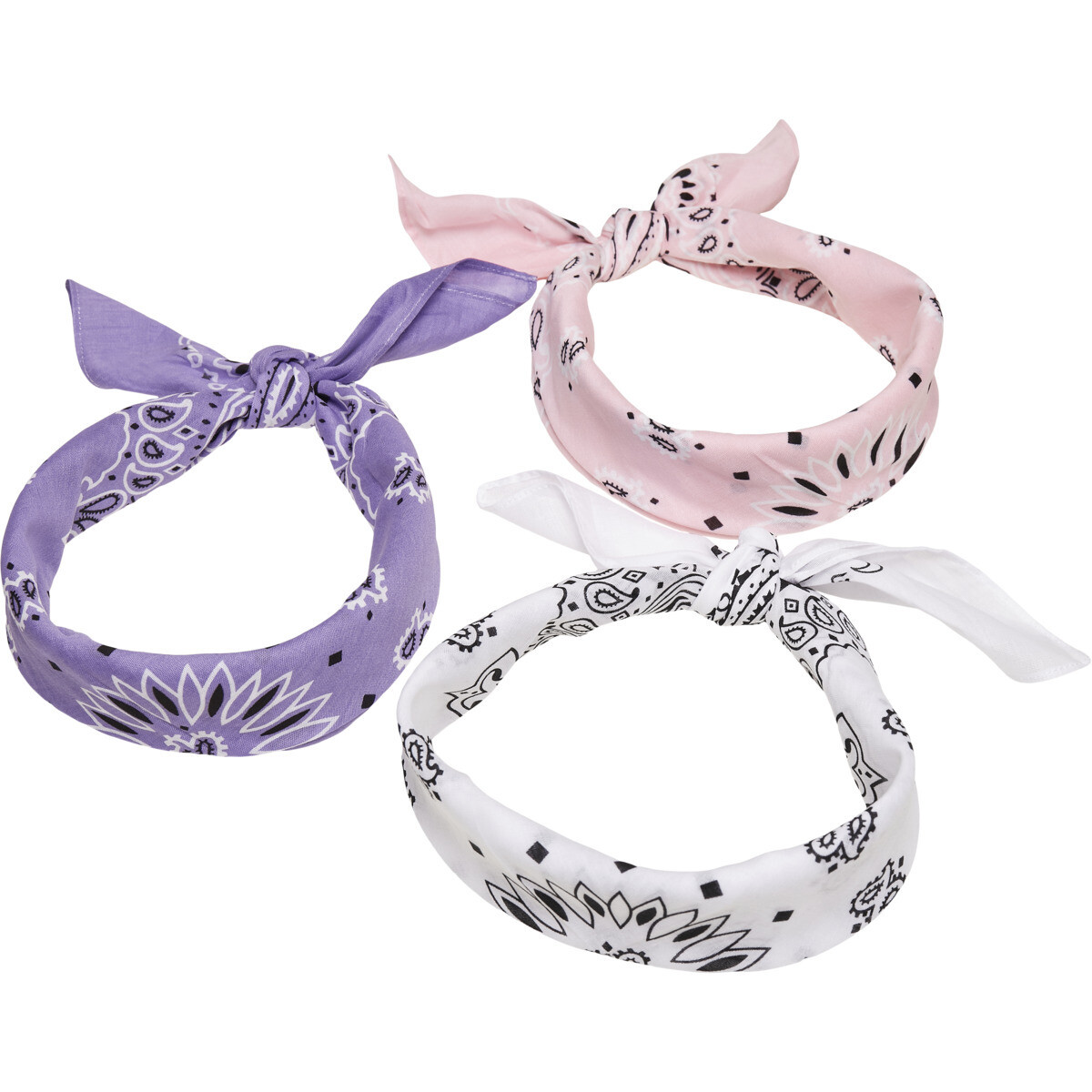 Multicolor Bandana 3-Pack - Violet/Weiss/Rosa