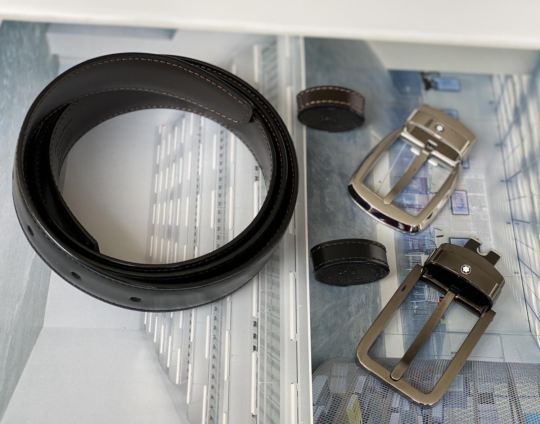 MONTBLANC SET CINTURÓN - LEATHER BELT  2 STAINLESS STEEL BUCKLES / BLACK & BROWN 30MM