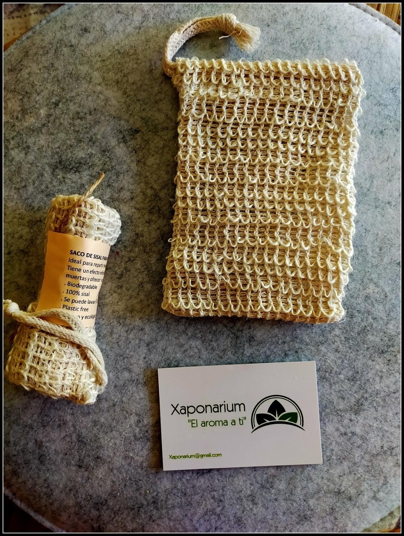 Saquito de Fibra de Sisal - Esponja y porta jabón