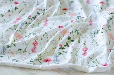 Кулирная гладь с лайкрой Луговые цветы на белом (диджитал)