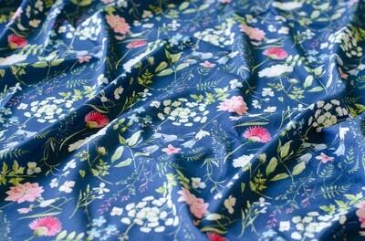 Кулирная гладь с лайкрой Луговые цветы на синем (диджитал)