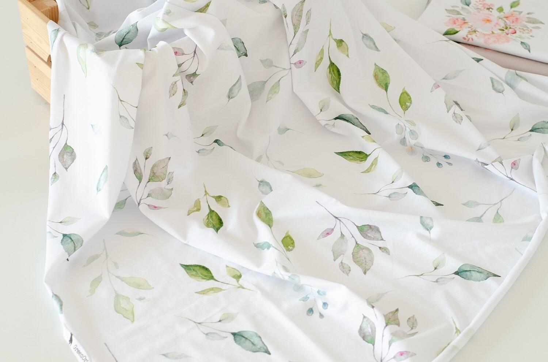 Кулирная гладь с лайкрой Листья на белом (диджитал)
