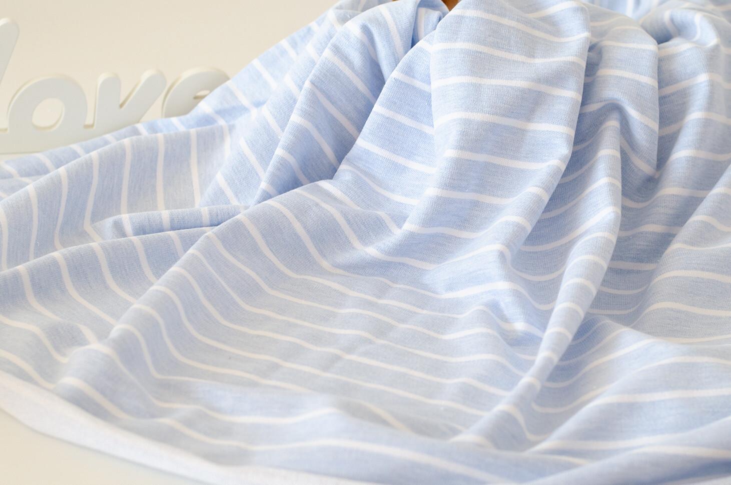 Футер 3-нитка Полоска вывязанная Голубой меланж / Белая (Польша)