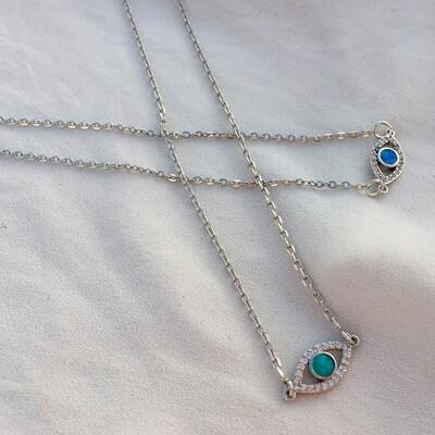Handmade Silver eye necklace