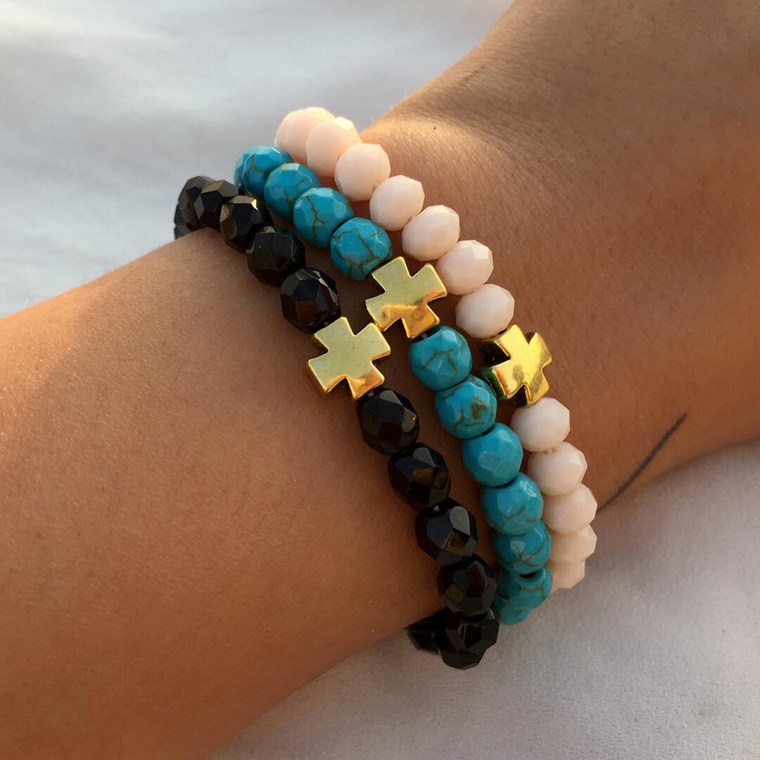 Stretchy beaded cross bracelets