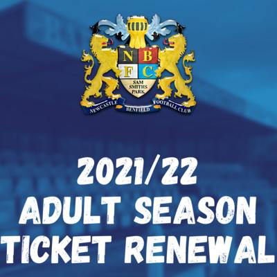 2021/22 ADULT SEASON TICKET RENEWAL