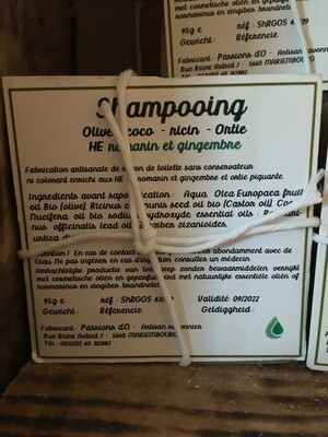 Shampoing solide parfumé romarin gingembre