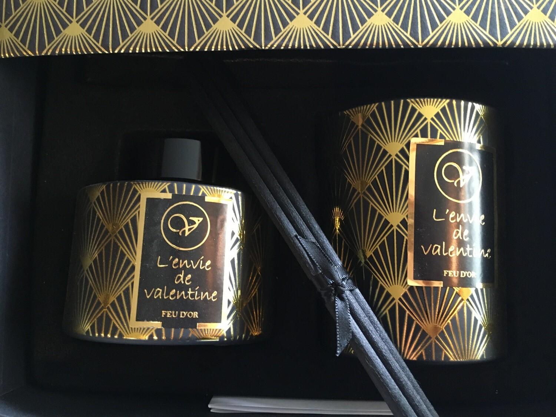 Coffret bougie et tiges parfumées FEU D'OR