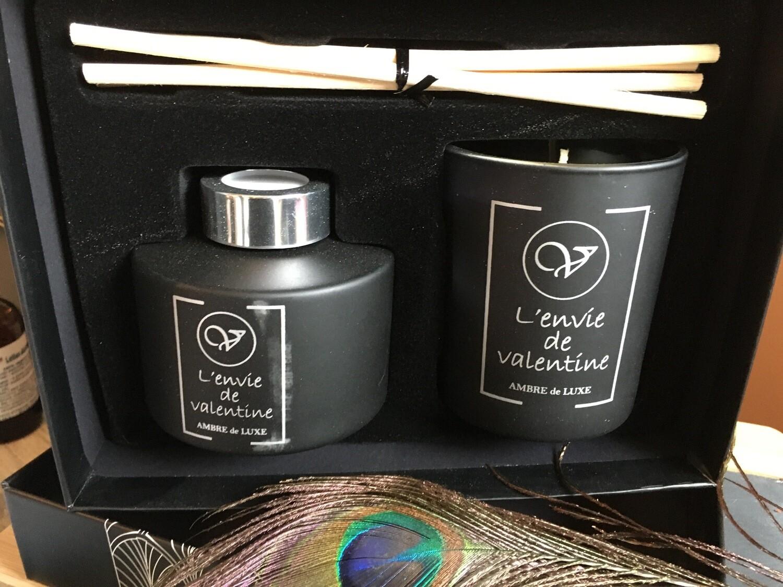 Coffret bougie et tiges parfumées AMBRE DE LUXE