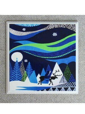 Handcrafted Blue Reindeer Wall Painting