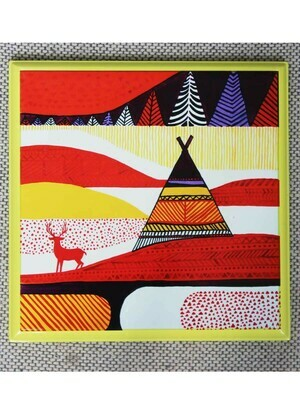 Handcrafted Yellow Reindeer Wall Painting