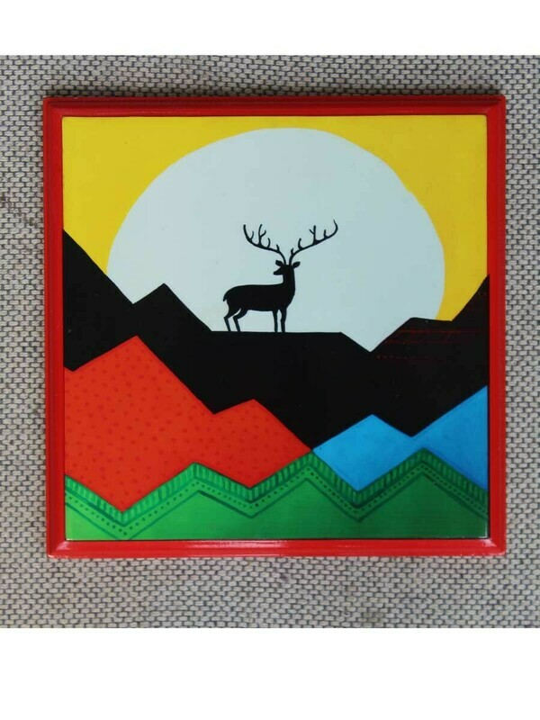 Handcrafted Red Reindeer Wall Painting