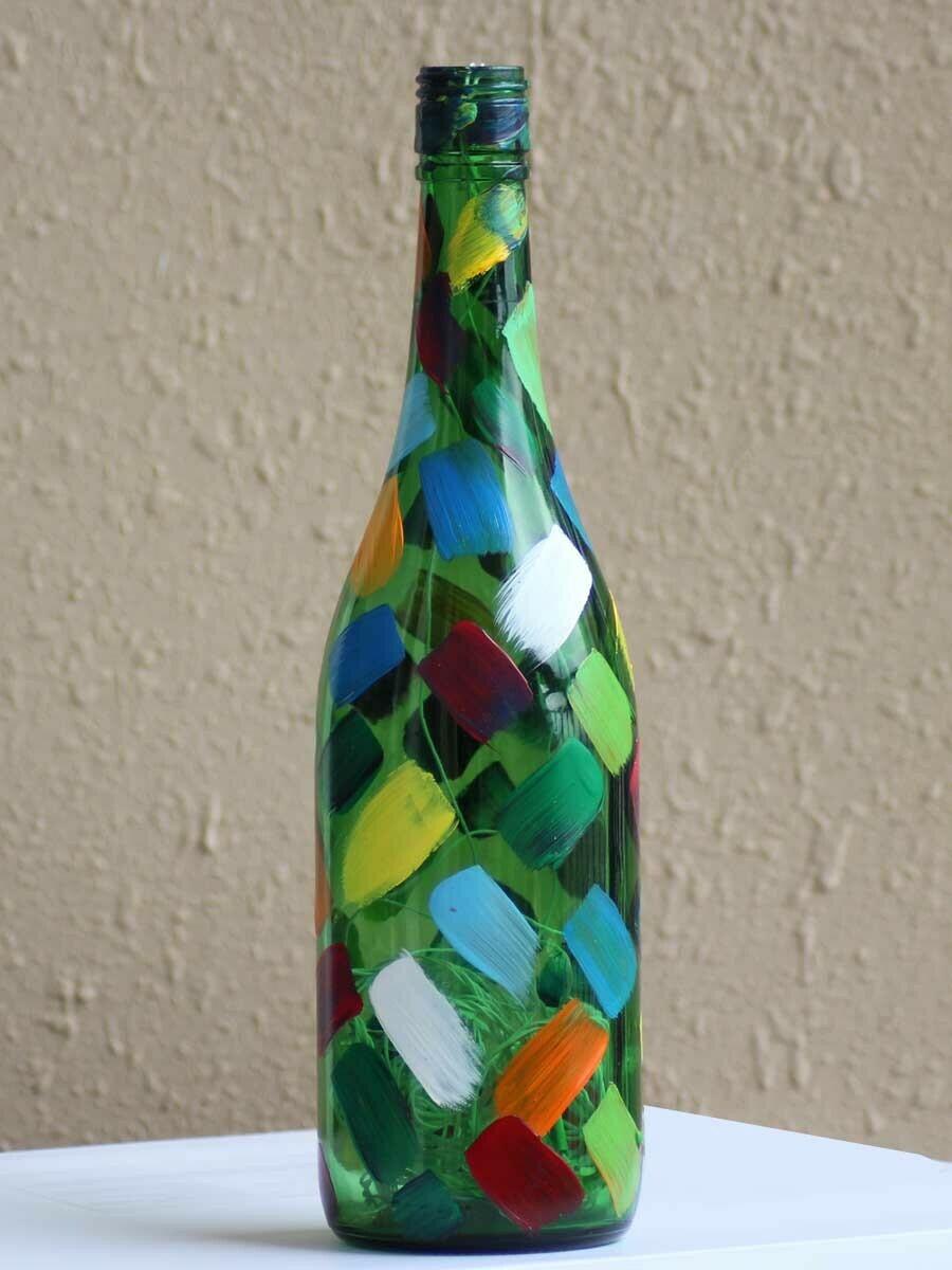 Handpainted Colourful Patchwork Bottle Lamp