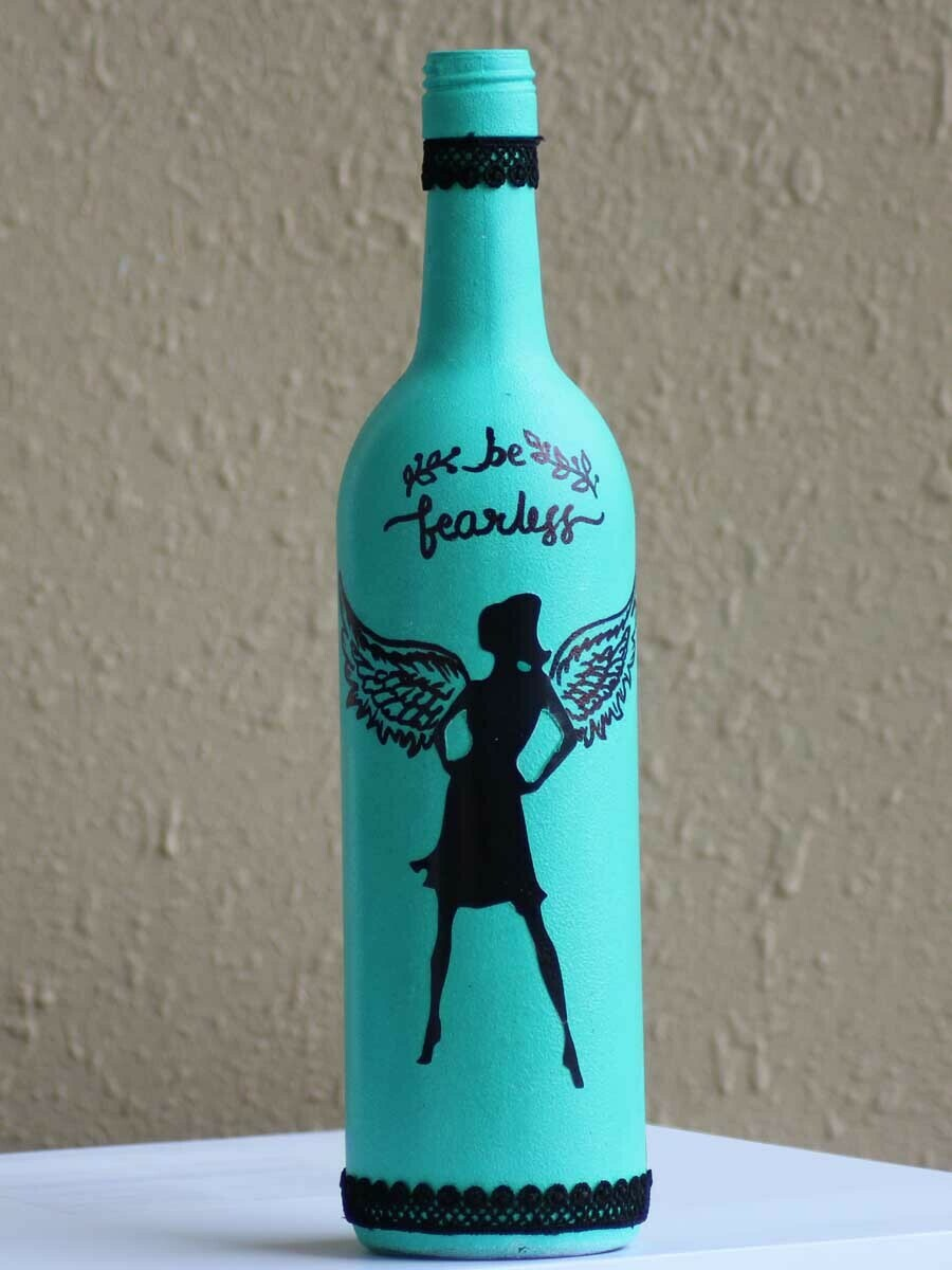 Handpainted Be Fearless Bottle