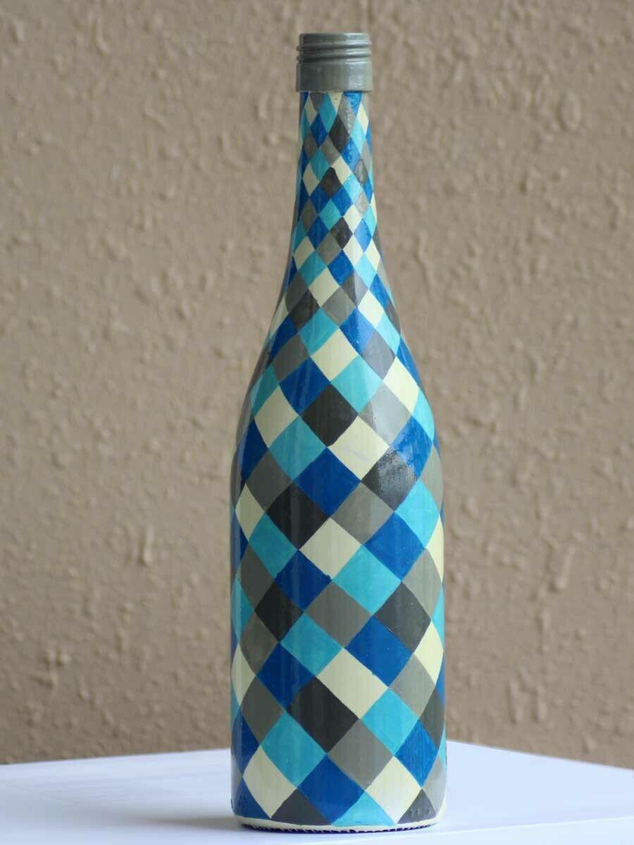 Handpainted Blue Checkered Bottle