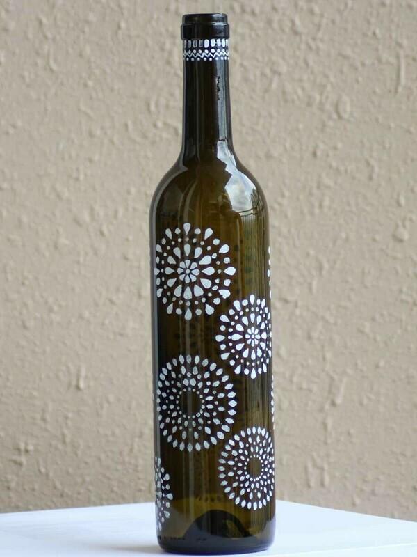 Handpainted Mandala Art Bottle