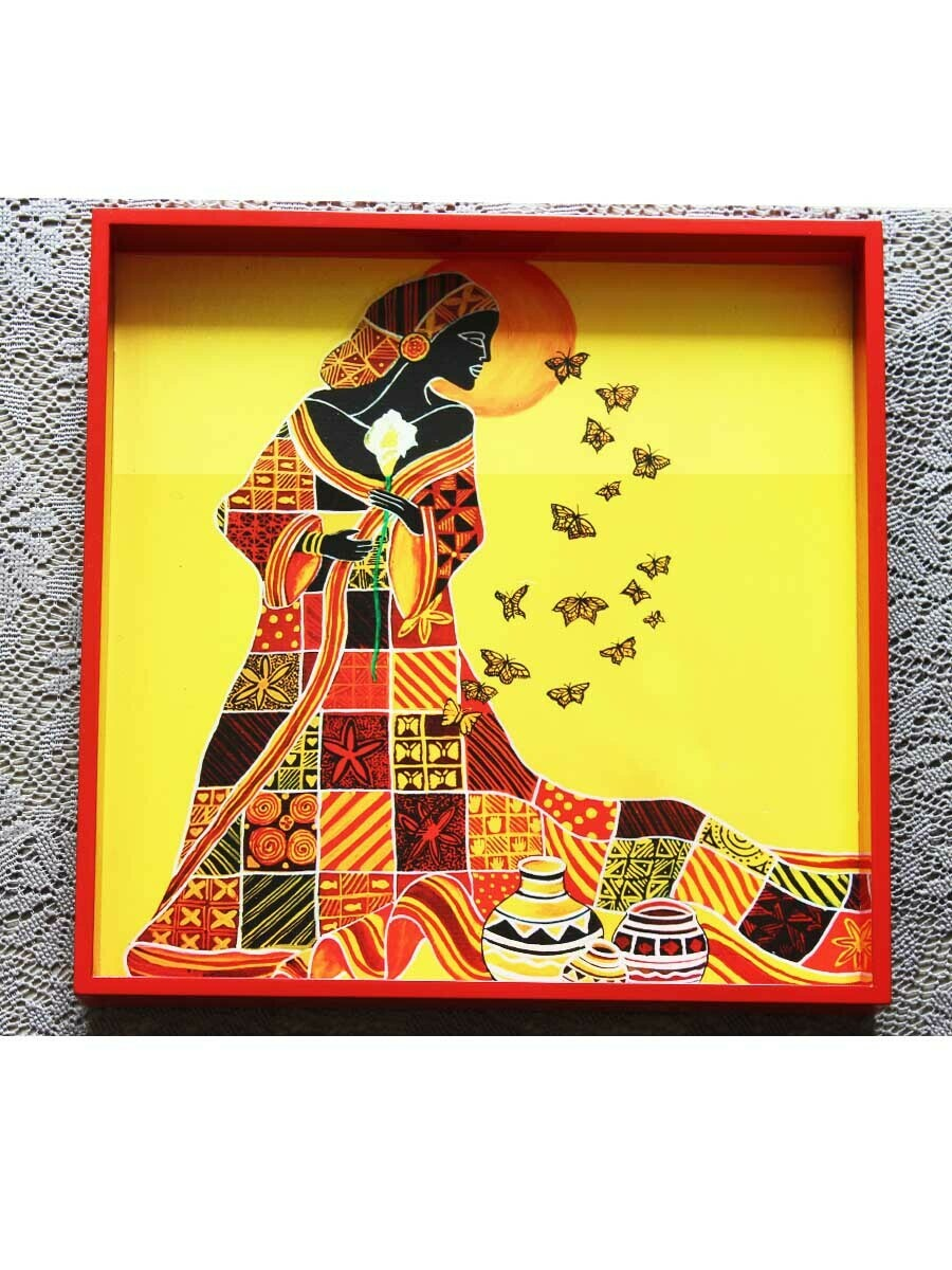 Hancrafted Lady with Butterfly Square Tray