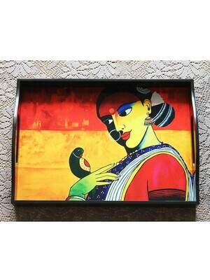 Handcrafted Lady with Parrot Rectangular Tray