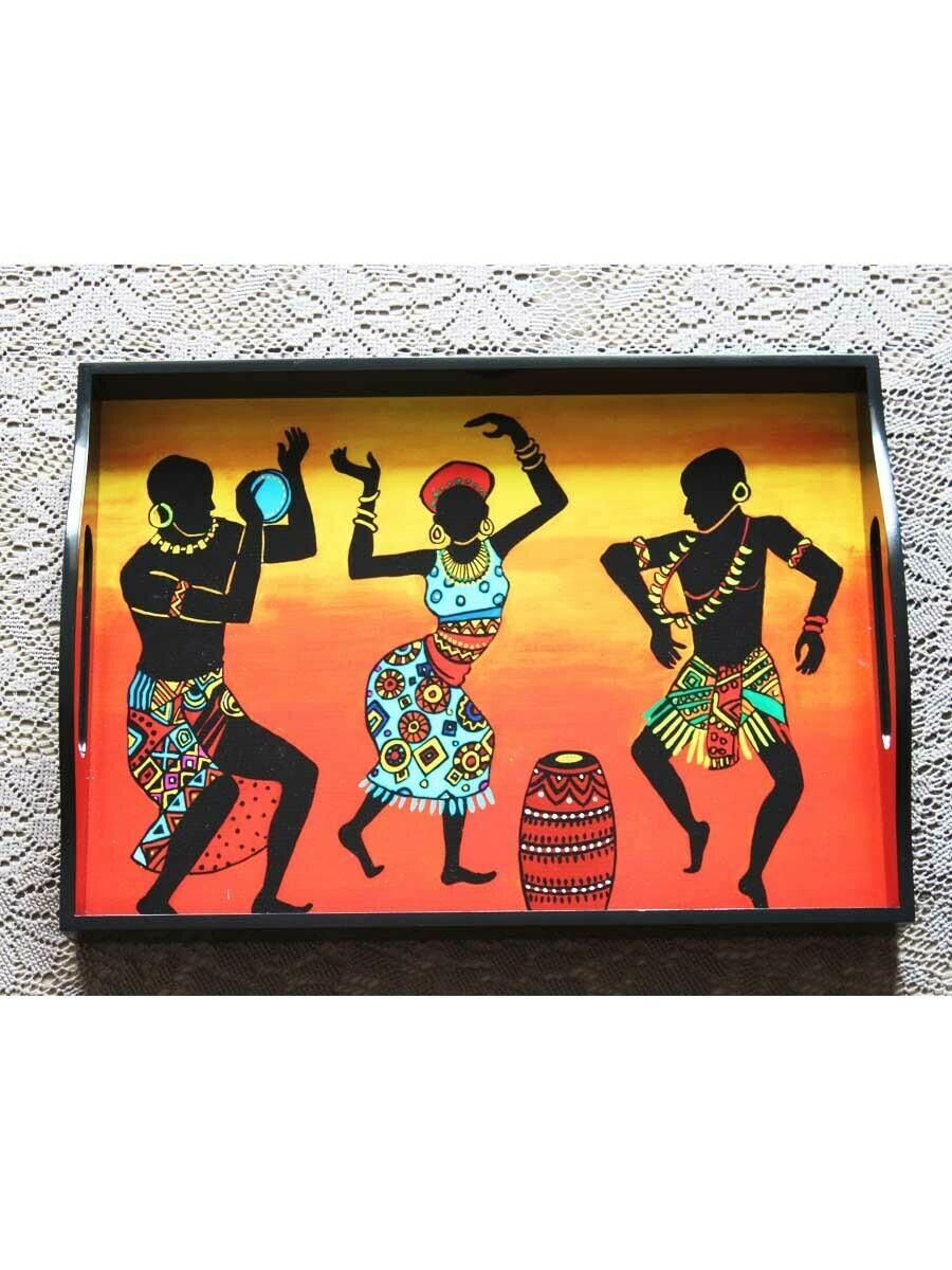 Handcrafted Tribal Dance Rectangular Tray