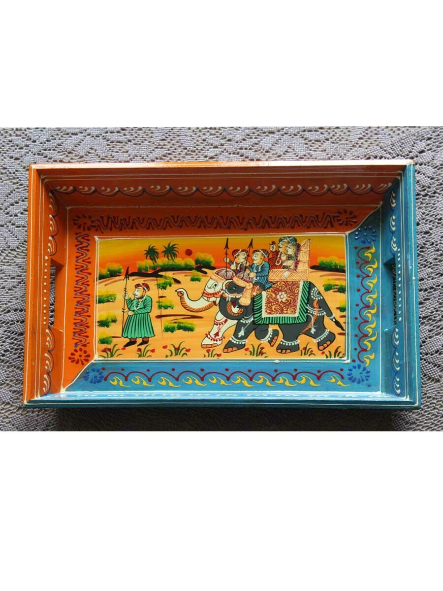 Handpainted Udaipuri Wooden Tray