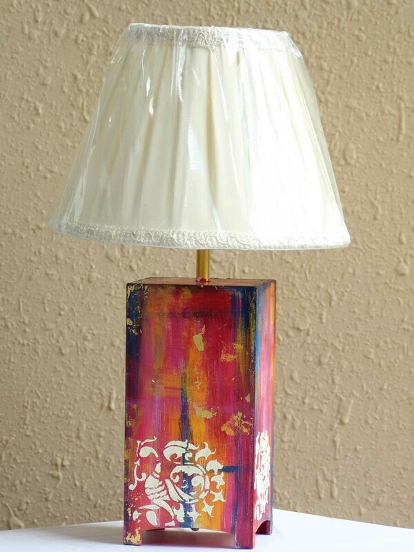 Handpainted Abstract Art Table Lamp