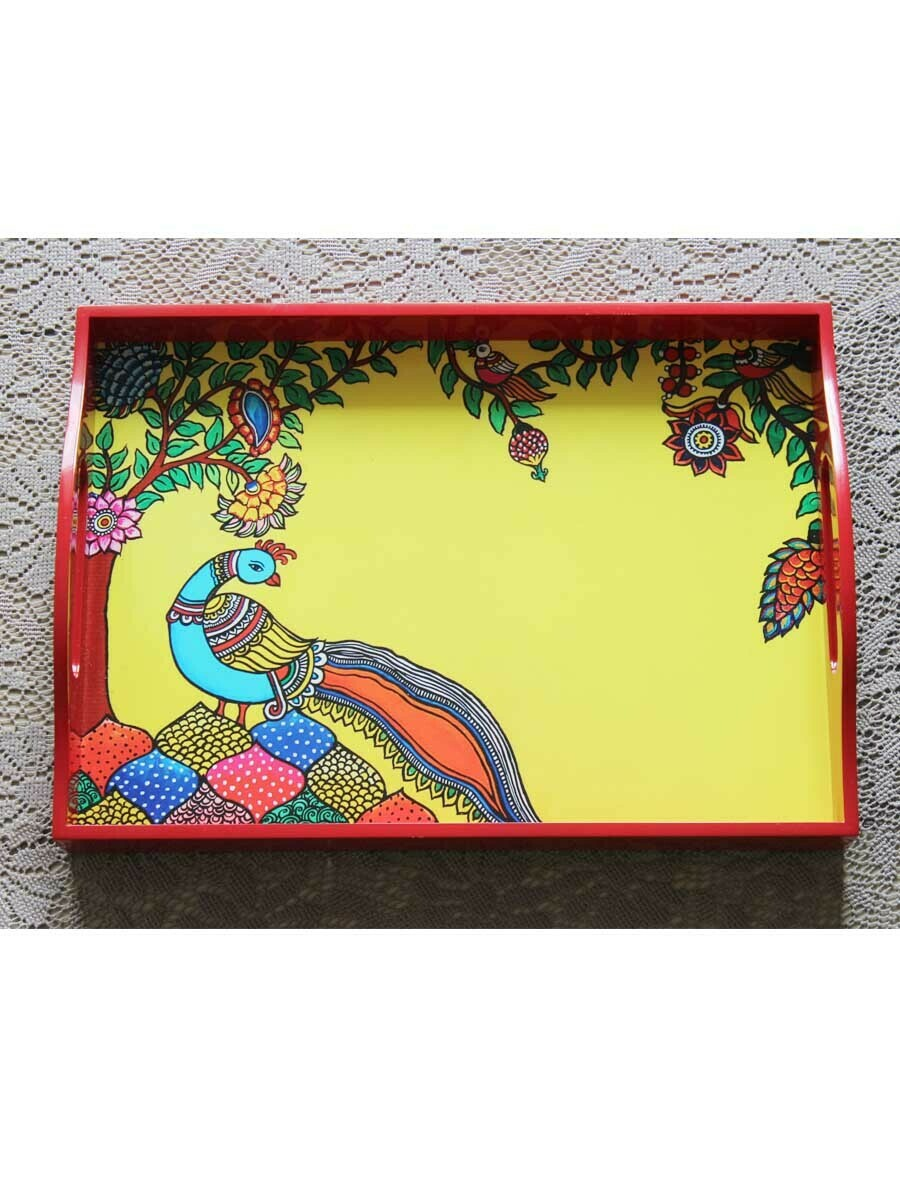 Handcrafted Kalamkari Peacock Rectangular Tray