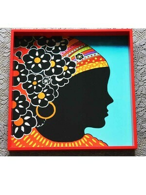 Handcrafted Tribal Lady Square Tray