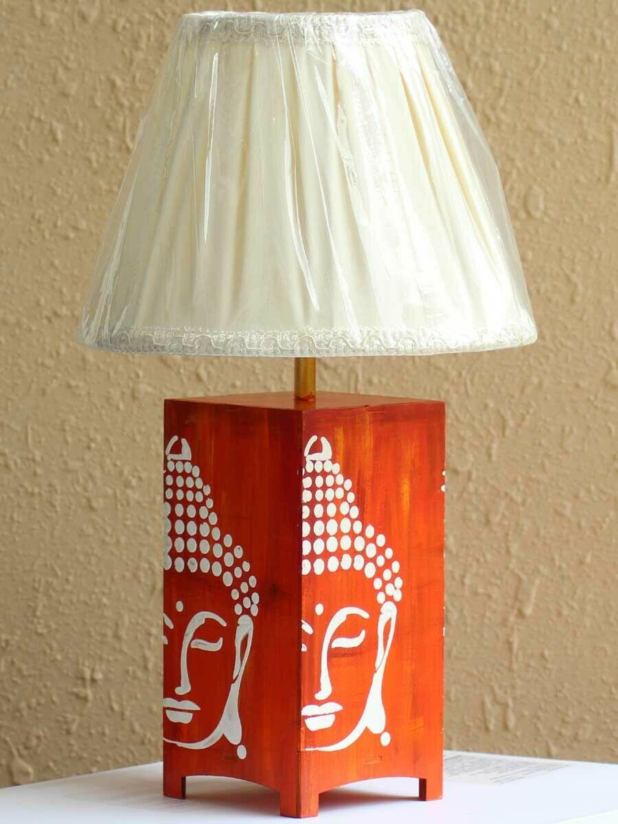 Handpainted Orange Buddha Table Lamp
