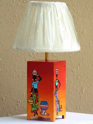 Handpainted Tribal Ladies Table Lamp