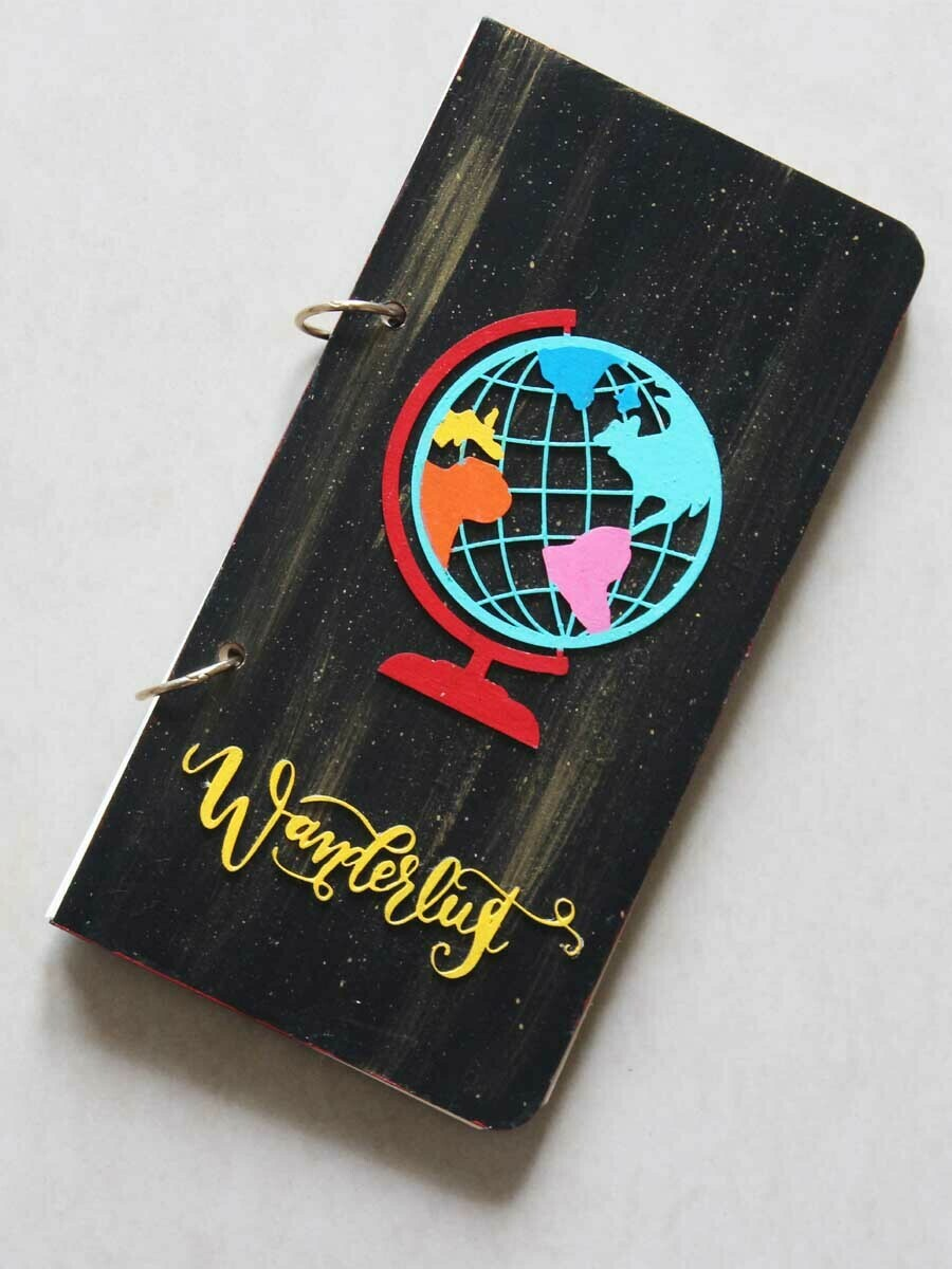 Handpainted Black Wanderlust Wooden Journal