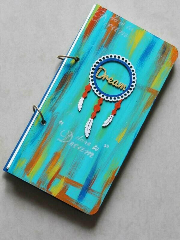 Handpainted Teal Dreams Wooden Journal