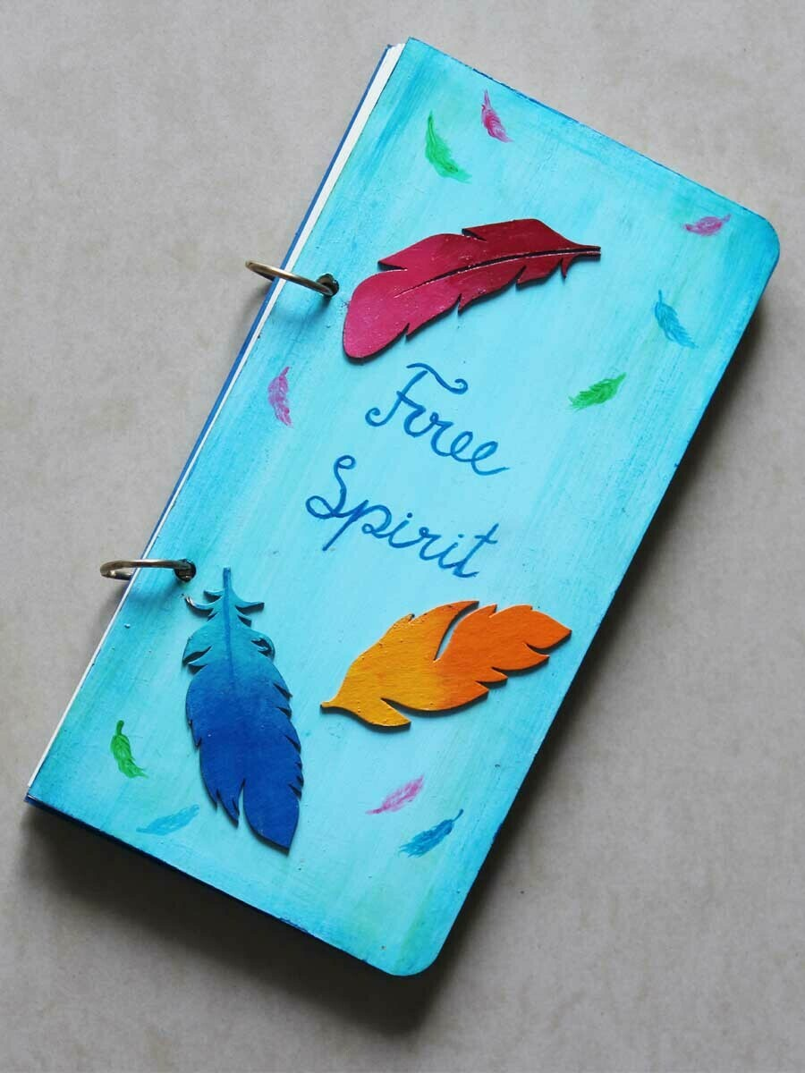 Handpainted Free Spirit Wooden Journal