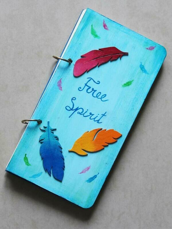 Handpainted Free Spirit Wooden Journal