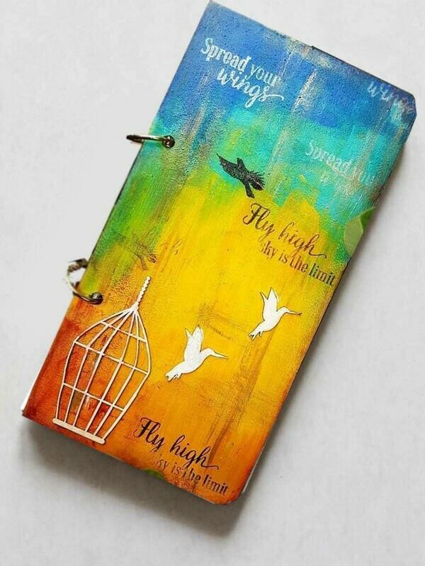 Handpainted Fly High Bird Wooden Journal