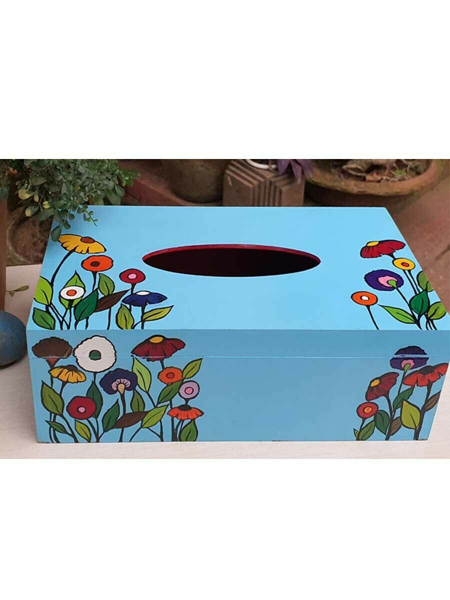 Handpainted Blue Floral Tissue Box
