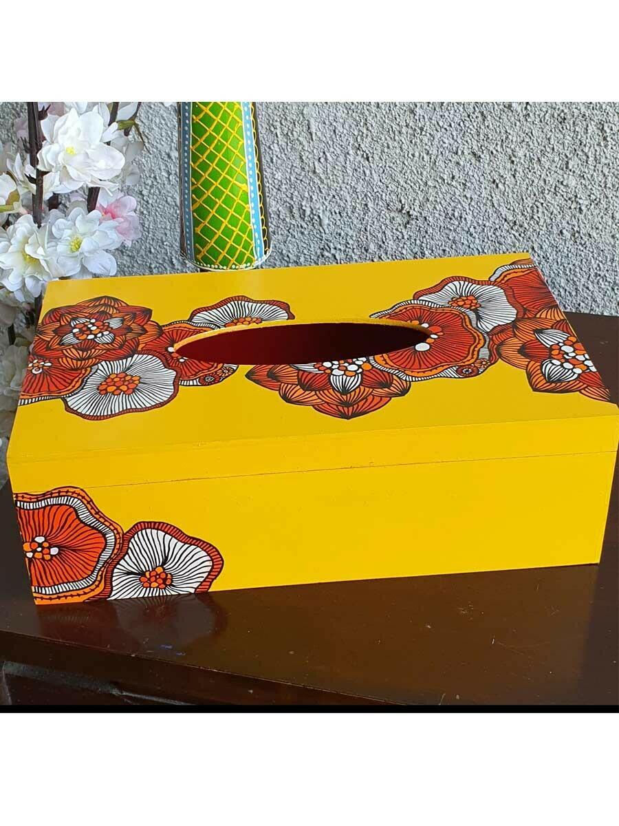 Handpainted Floral Pattern Tissue Box