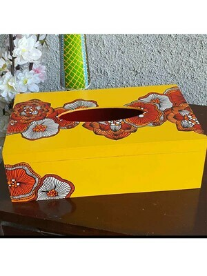 Handpainted Floral Pattern Tissue Box