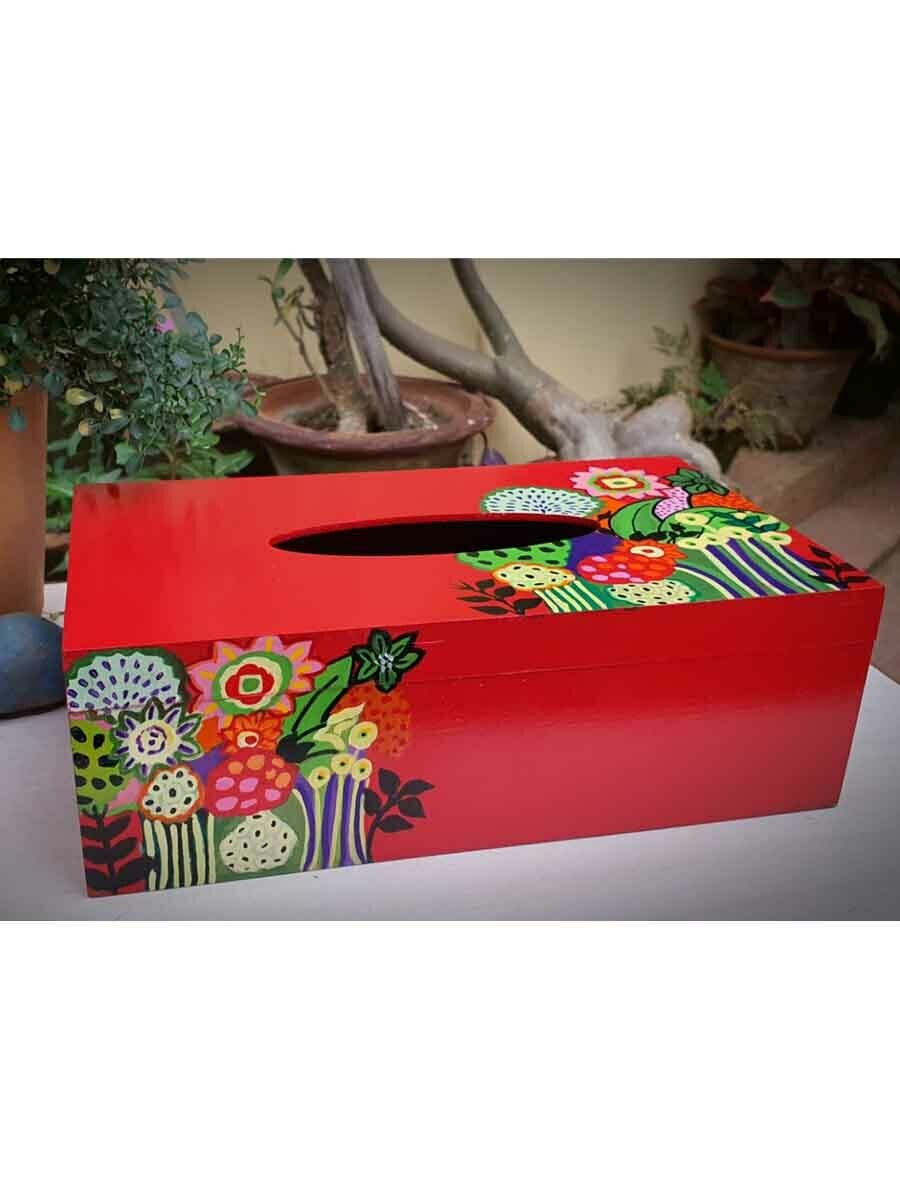 Handpainted Red Floral Tissue Box