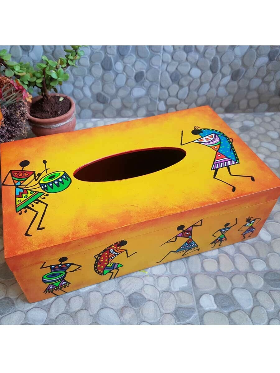 Handpainted Tribal Art Tissue Box