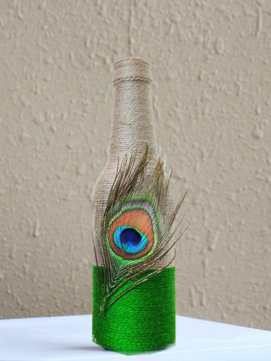 Handmade Peacock Feather Bottle
