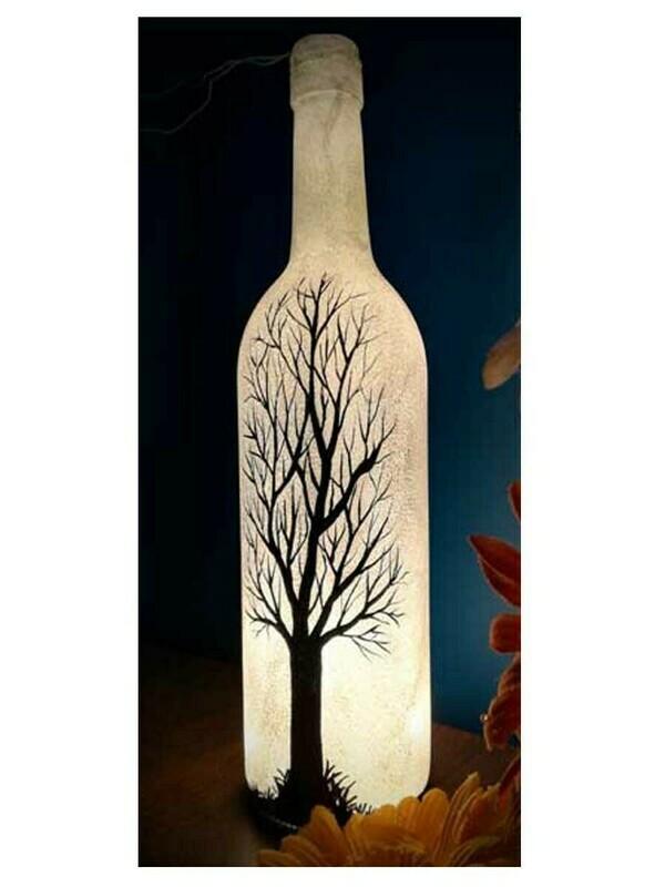 Handpainted Black Tree Bottle Lamp