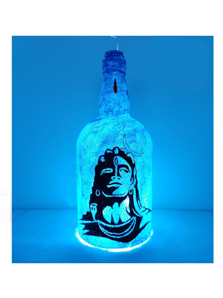 Handpainted Blue Mahadev Bottle Lamp