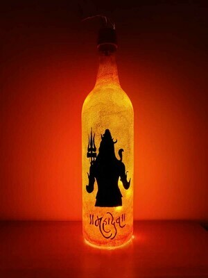 Handpainted Lord Shiva Bottle Lamp